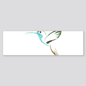 Blue and Green Patchwork Hummingbir Bumper Sticker
