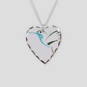Blue and Green Patchwork Humm Necklace Heart Charm