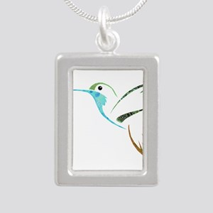 Blue and Green Patchwork Hummingbird Necklaces