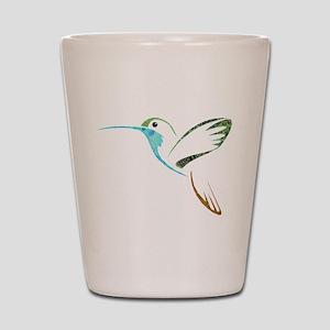 Blue and Green Patchwork Hummingbird Shot Glass