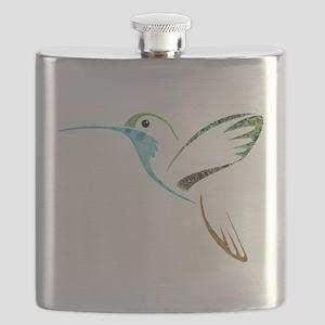 Blue and Green Patchwork Hummingbird Flask