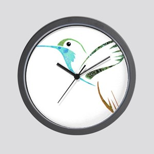 Blue and Green Patchwork Hummingbird Wall Clock