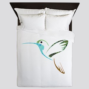 Blue and Green Patchwork Hummingbird Queen Duvet