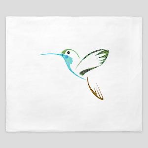 Blue and Green Patchwork Hummingbird King Duvet