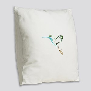 Blue and Green Patchwork Hummi Burlap Throw Pillow