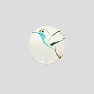 Blue and Green Patchwork Hummingbird Mini Button