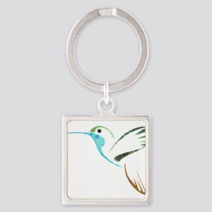 Blue and Green Patchwork Hummingbird Keychains