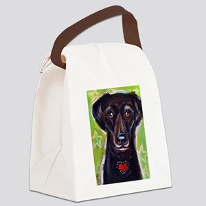 Black Lab love hearts Canvas Lunch Bag