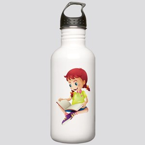 A young lady reading a Stainless Water Bottle 1.0L