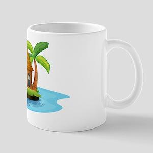 An island with a small nipa hut Mug