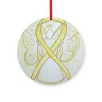 Yellow Ribbon Angel Ornament (Round)