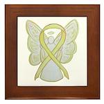 Yellow Ribbon Angel Framed Tile