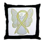Yellow Ribbon Angel Throw Pillow