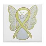 Yellow Ribbon Angel Tile Coaster