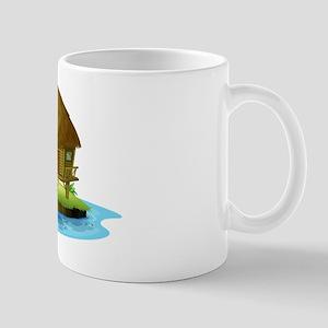 A nipa hut in an island Mug