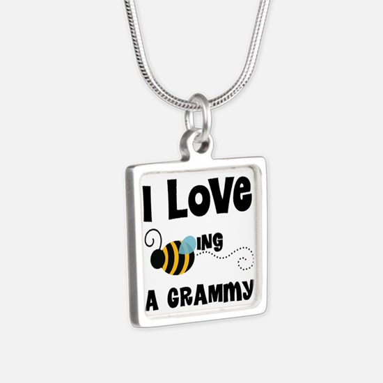 I Love Being A Grammy Silver Square Necklace