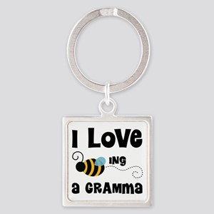 I Love Being A Gramma Square Keychain