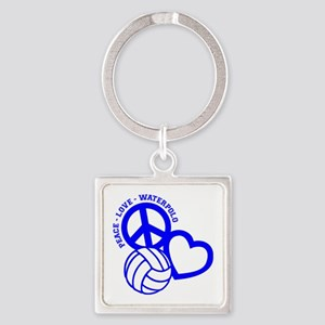PEACE-LOVE-WATERPOLO Square Keychain