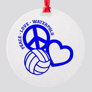 PEACE-LOVE-WATERPOLO Round Ornament