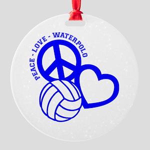 PEACE-LOVE-WATERPOLO Round Ornament