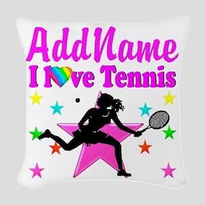 TENNIS PLAYER Woven Throw Pillow