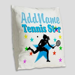 TENNIS PLAYER Burlap Throw Pillow