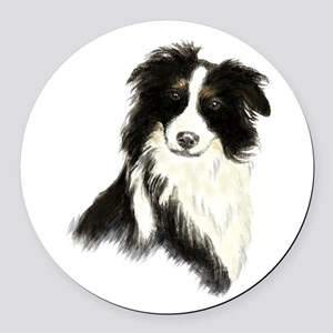 Watercolor Border Collie Dog Pet Animal Round Car