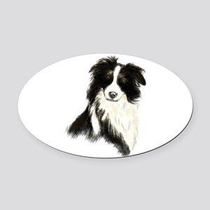Watercolor Border Collie Dog Pet Animal Oval Car M