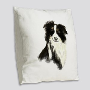 Watercolor Border Collie Dog Pet Animal Burlap Thr