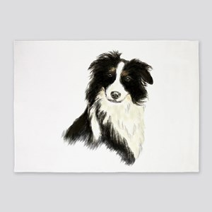Watercolor Border Collie Dog Pet Animal 5'x7'Area