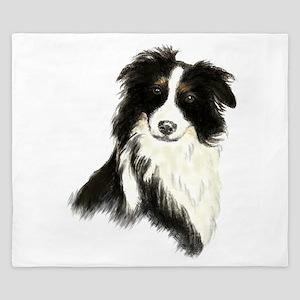 Watercolor Border Collie Dog Pet Animal King Duvet