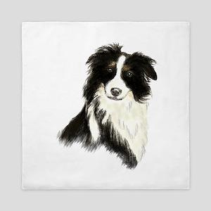 Watercolor Border Collie Dog Pet Queen Duvet