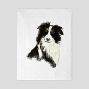 Watercolor Border Collie Dog Pet Animal Twin Duvet