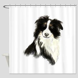 Watercolor Border Collie Dog Pet Animal Shower Cur
