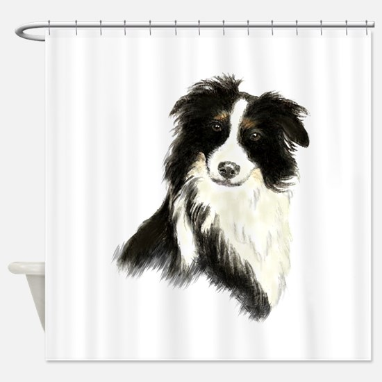 Watercolor Border Collie Dog Pet Animal Shower Cur