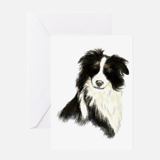 Watercolor Border Collie Dog Pet Animal Greeting C