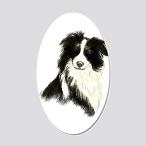 Watercolor Border Collie Dog 20x12 Oval Wall Decal