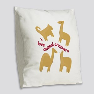 Love Animal Crackers Burlap Throw Pillow