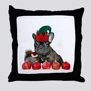 Christmas French Bulldog Throw Pillow