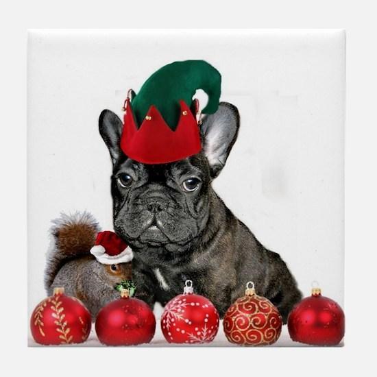 Christmas French Bulldog Tile Coaster