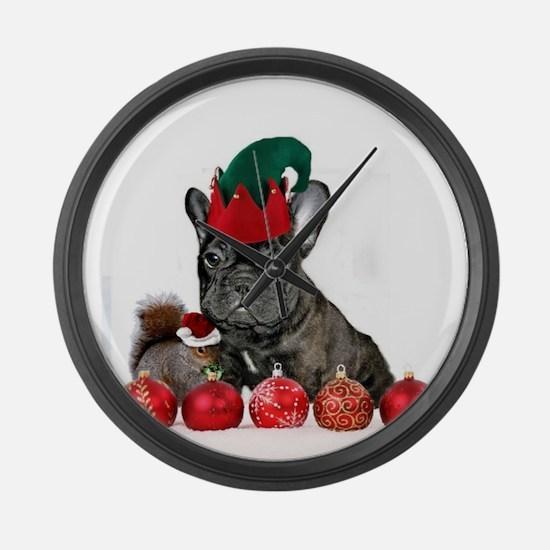 Christmas French Bulldog Large Wall Clock