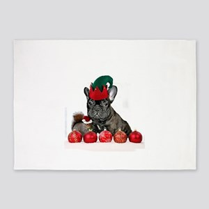 Christmas French Bulldog 5'x7'Area Rug