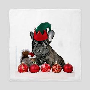 Christmas French Bulldog Queen Duvet