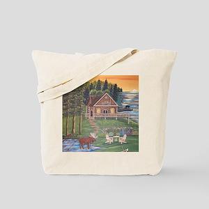 Moose Woods Lake Cabin Tote Bag
