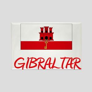 Gibraltar Flag Artistic Red Design Magnets