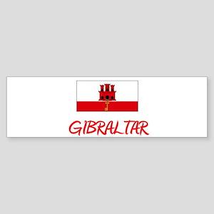Gibraltar Flag Artistic Red Design Bumper Sticker