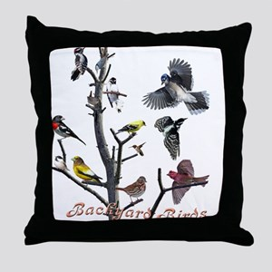 Backyard Birds Throw Pillow