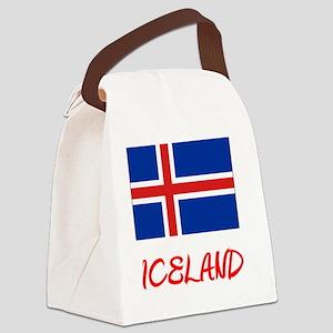 Iceland Flag Artistic Red Design Canvas Lunch Bag
