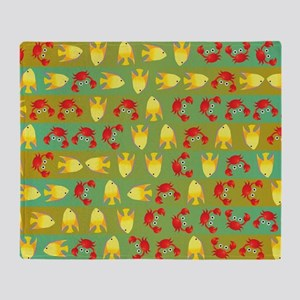 Crabs and fish Throw Blanket