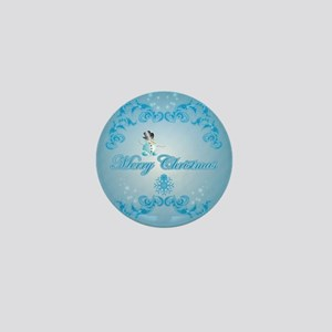 Cute snowman with soft blue background Mini Button